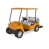 Coche anaranjado del carro de golf en blanco Fotos de archivo libres de regalías