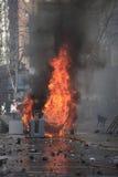 Coche ardiente protesta Fotografía de archivo