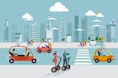 Coche autónomo Driverless en la ciudad libre illustration