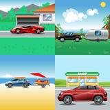 Coche auto rojo, azul, rojo y negro del vector de Digitaces stock de ilustración