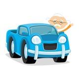 Coche azul con un conductor Imagen de archivo libre de regalías