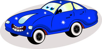 Coche azul divertido Imagen de archivo