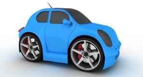 Coche azul divertido en el fondo blanco Imagen de archivo libre de regalías