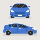 Coche azul en la vista delantera y la vista lateral - ejemplo stock de ilustración