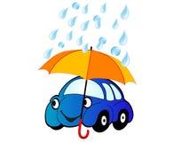 Coche bajo el paraguas ilustración del vector