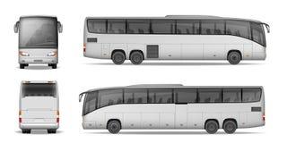 Coche Bus aislado en el fondo blanco Autobús del pasajero del viaje para hacer publicidad y su diseño Maqueta realista del coche ilustración del vector