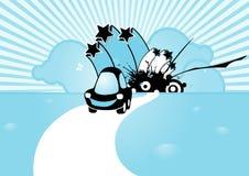 Coche cobarde negro en fondo azul. stock de ilustración