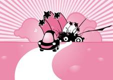Coche cobarde negro en fondo rosado Foto de archivo