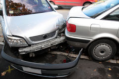 Coche, colisión del accidente Imágenes de archivo libres de regalías