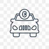 Coche con el icono euro del vector aislado en el fondo transparente, li stock de ilustración