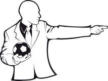Coche con un balón de fútbol Contorno del vector Foto de archivo libre de regalías