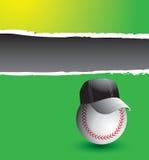 Coche de béisbol en bandera rasgada verde Foto de archivo