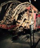 Coche de bomberos arruinado, 9/11 monumento, Nueva York Foto de archivo