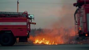 Coche de bomberos con la luz que destella en campo de hierba ardiente del fondo Coche de bomberos en fondo de la hierba ardiente  metrajes
