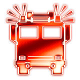 Coche de bomberos con las sirenas Foto de archivo libre de regalías