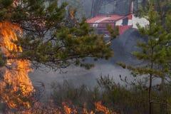 Coche de bomberos detrás de las llamas y del humo del incendio forestal Fotografía de archivo