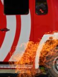Coche de bomberos en peligro foto de archivo libre de regalías