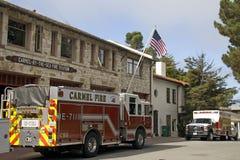 Coche de bomberos, parque de bomberos del Carmel-por--mar Fotos de archivo