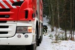 Coche de bomberos y bombero Detail Imágenes de archivo libres de regalías