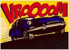 Coche de cómic del arte pop a la velocidad con el ejemplo del vector de la onomatopeya del vrooom ilustración del vector