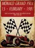 Coche de carreras del vintage para imprimir Cartel de la raza de la escuela vieja del vector Imagen de archivo libre de regalías