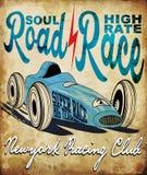 Coche de carreras del vintage para imprimir Cartel de la raza de la escuela vieja del vector Retr Imagen de archivo libre de regalías