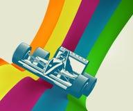 Coche de carreras en rayas del arco iris Imágenes de archivo libres de regalías