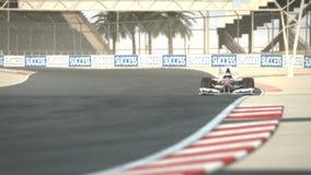 Coche de carreras F1 en el circuito del desierto ilustración del vector