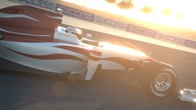 Coche de carreras F1 en el circuito del desierto - paso de la cámara stock de ilustración