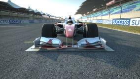 Coche de carreras F1 en la aceleración de la posición de comienzo stock de ilustración