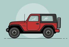 Coche de color caqui retro moderno del vector E Recorrido en coche Coche retro del viaje Deportes extremos, deportes 4x4 Vehículo stock de ilustración