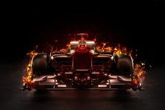Coche de competición caliente de los deportes de motor del equipo con la iluminación del estudio y el efecto de fuego libre illustration