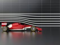 Coche de competición rápido rojo de la fórmula en túnel de viento ilustración del vector