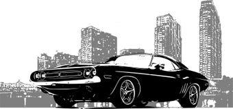 Coche de competición viejo con el fondo de la ciudad del grunge ilustración del vector