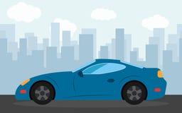 Coche de deportes azul en el fondo de rascacielos por la tarde stock de ilustración