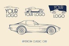Coche de deportes clásico americano, siluetas, logotipo Imagen de archivo