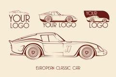 Coche de deportes clásico europeo, siluetas, logotipo Fotos de archivo libres de regalías