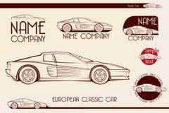 Coche de deportes clásico europeo, siluetas, logotipo Imagen de archivo libre de regalías