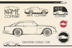 Coche de deportes clásico europeo, siluetas, logotipo Imágenes de archivo libres de regalías