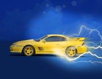 Coche de deportes que compite con amarillo con el relámpago Fotos de archivo libres de regalías
