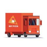Coche de entrega rápido de la pizza, Van Vendedor de comida móvil Vector plano Fotos de archivo