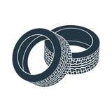 Coche de goma de la impulsión del borde del neumático de la rueda ilustración del vector