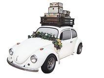 Coche de la boda con la flor - aislada en el fondo blanco imagen de archivo libre de regalías