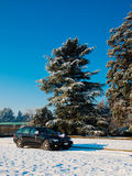 Coche de la boda en un camino rural nevoso Imagen de archivo