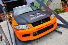 Coche de la desviación de Mitsubishi Evo en la desviación 2010 de la fórmula Fotos de archivo