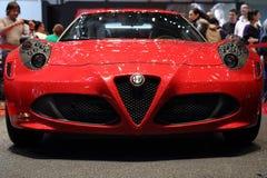 Edición del lanzamiento de Alfa Romeo 4C - salón del automóvil 2013 de Ginebra Imágenes de archivo libres de regalías