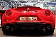 Edición del lanzamiento de Alfa Romeo 4C - salón del automóvil 2013 de Ginebra Fotos de archivo