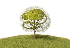 Coche de la electricidad del símbolo en árbol Foto de archivo libre de regalías