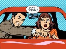 Coche de la mujer del conductor de la escuela de conducción stock de ilustración