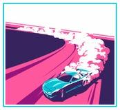 Coche de la quemadura, deporte japonés de la deriva, el competir con de la calle ilustración del vector